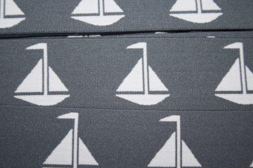 renee-d.de Onlineshop: Maritimes Gummiband grau Boote 4 cm breit