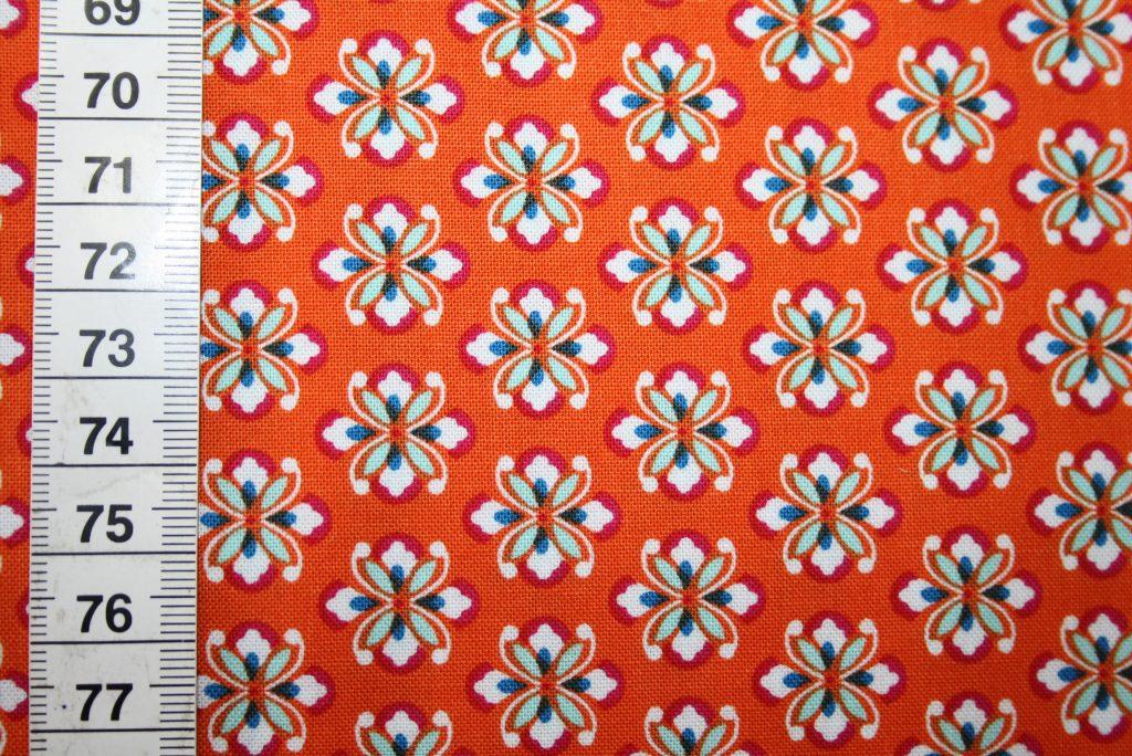 renee-d.de Onlineshop: Mirabelle Baumwollstoff by Rebekah Ginda orange kleine Blumen