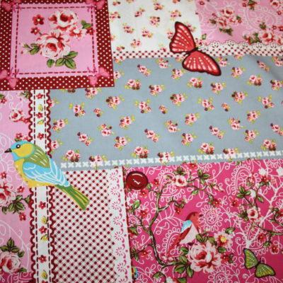 renee-d.de Onlineshop: Nostalgisch Baumwollstoff Vögel Blumen rosa pink