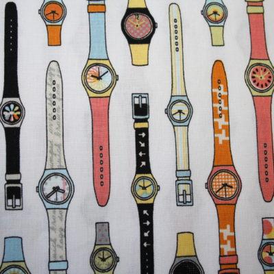 renee-d.de Onlineshop: Riley Blake Baumwollstoff Retro Uhr