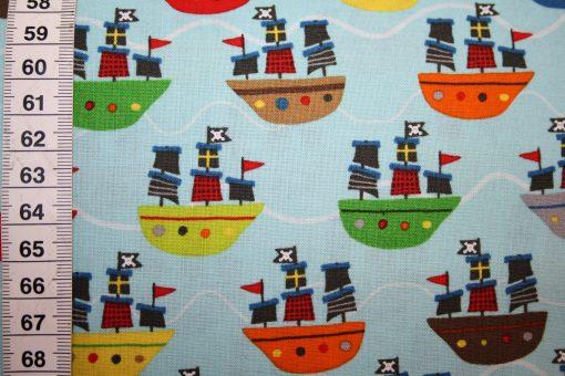 renee-d.de Onlineshop: Riley Blake Baumwollstoff Treasure Map Pirat Boote blau