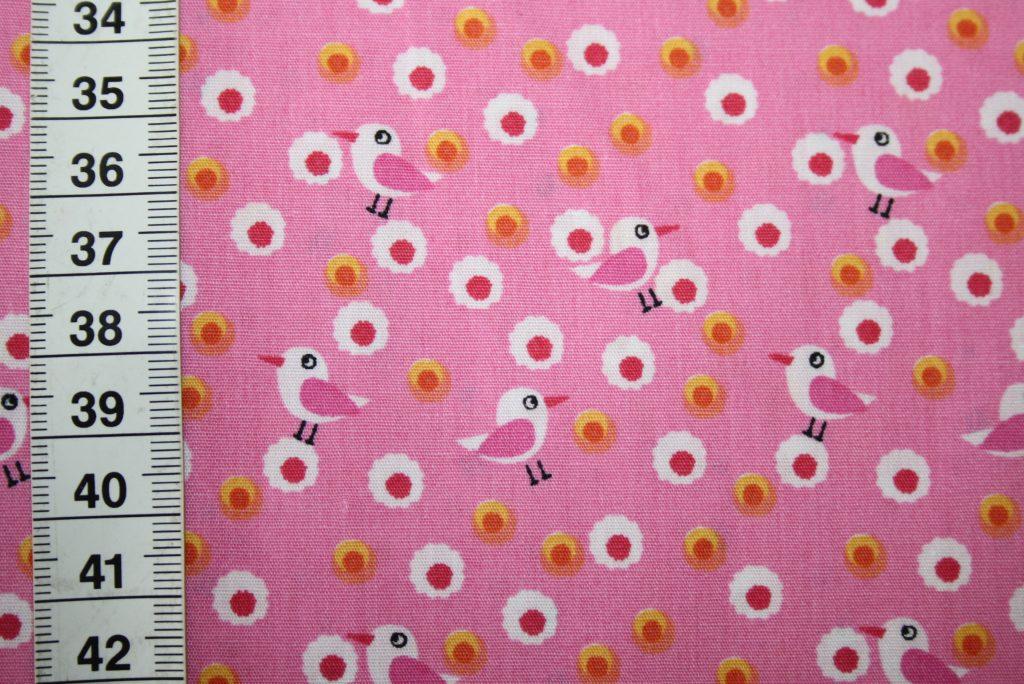 renee-d.de Onlineshop: Stenzo Baumwollstoff Vögel rosa
