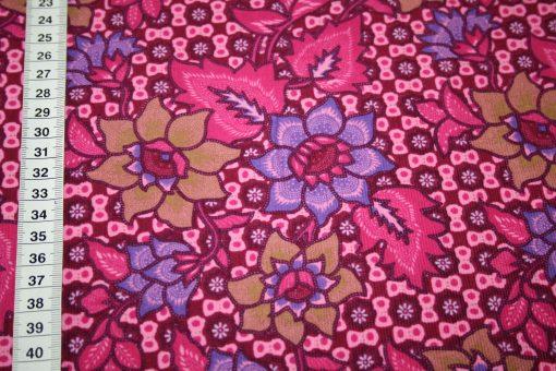 renee-d.de Onlineshop: Stenzo Cord Stoff Blumen Muster lila pink