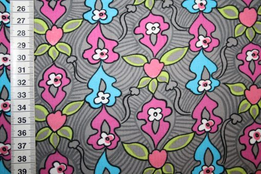 renee-d.de Onlineshop: Stenzo Cord Stoff Muster Blumen grau pink blau