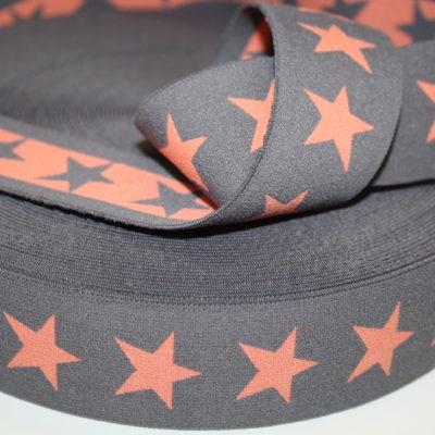 renee-d.de Onlineshop: Sternchen Gummiband 4 cm breit braun orange