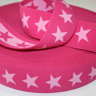 renee-d.de Onlineshop: Sternchen Gummiband 4 cm breit pink