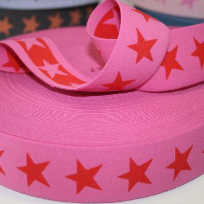 renee-d.de Onlineshop: Sternchen Gummiband 4 cm breit pink rot