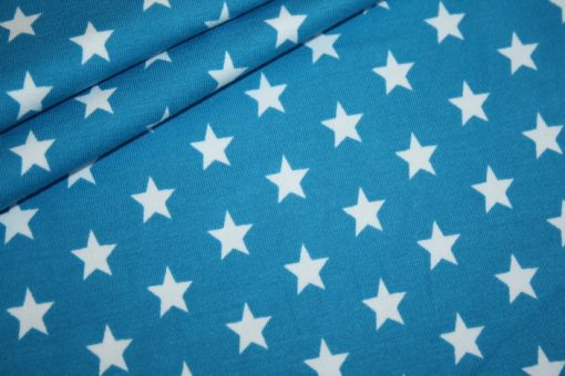 renee-d.de Onlineshop: Swafing Jersey Stoff Sterne dunkel türkis