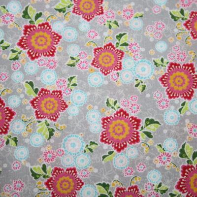 renee-d.de Onlineshop: Swafing Baumwollstoff Flower Parade Blumen grau