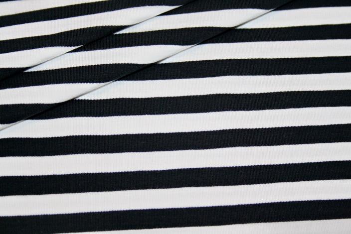 Jersey Stoff Schwarz Weiß Gestreift