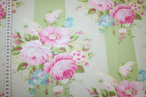 renee-d.de Onlineshop: Tanya Whelan Baumwollstoff grün große Blumen Rosen