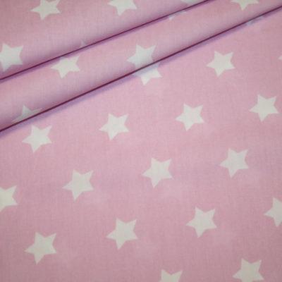 renee-d.de Onlineshop: Baumwollstoff rosa Sterne weiß