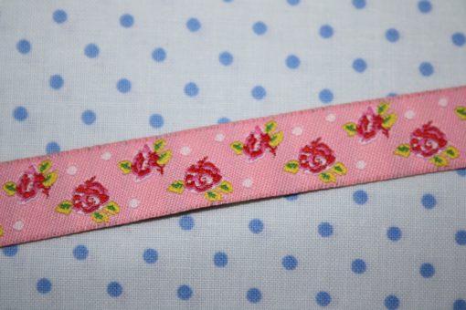 renee-d.de Onlineshop: Webband in rosa mit Rosen