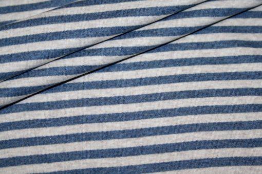 renee-d.de Westfalenstoff Jersey Stoff beige Streifen blau
