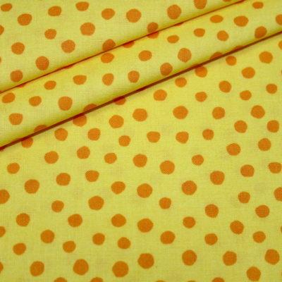 Junge Linie Westfalenstoff in gelb mit orangen kleinen Punkten 100% Baumwolle, ca. 1,50 Meter breit. Öko Tex100, kba.