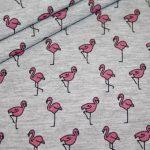 Jersey Stoff grau meliert Flamingo