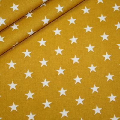 renee-d.de Onlineshop: Baumwollstoff kleinen Sterne senf
