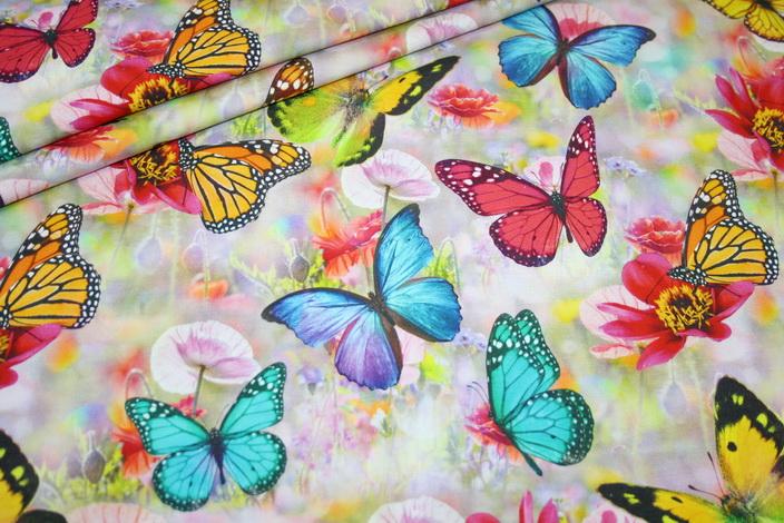 Digitaldruck Jersey Stoff Schmetterlinge