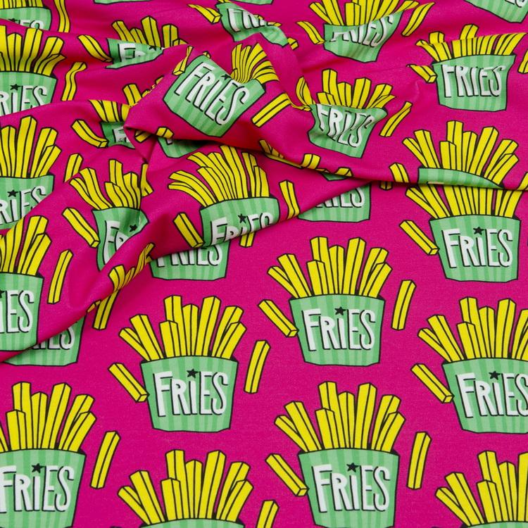 Hamburger Liebe Sweatshirt Stoff OMG Fries pink
