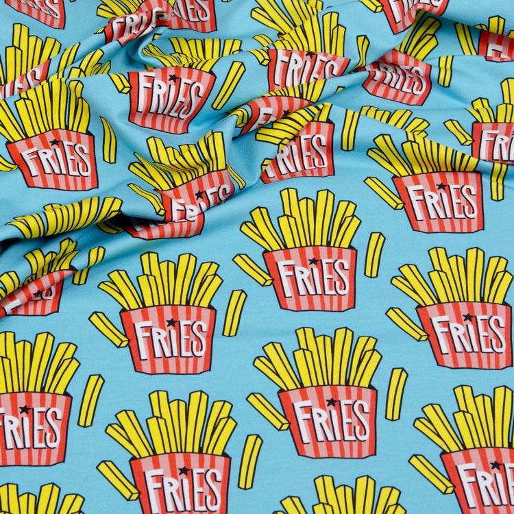Hamburger Liebe Sweatshirt Stoff OMG Fries türkis