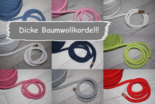 Dicke Baumwollkordel in vielen Farben!