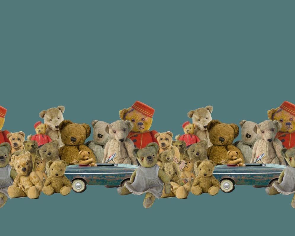 Stenzo Jersey Stoff Digitaldruck Teddybären Bordüre in petrol
