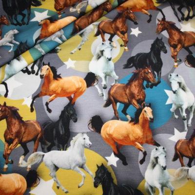 renee-d.de Onlineshop: Jersey Stoff Digitaldruck Pferde