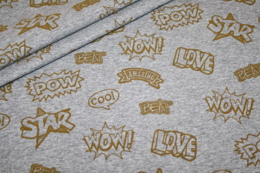 renee-d.de Onlineshop: Jersey Stoff grau meliert Cool Patches gold