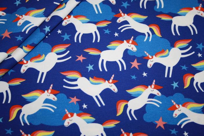 Hamburger Liebe Jersey Stoff Lenis Dream Einhorn blau