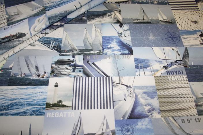 Fotoprint Digitaldruck Dekostoff Maritim Segelboote Meer