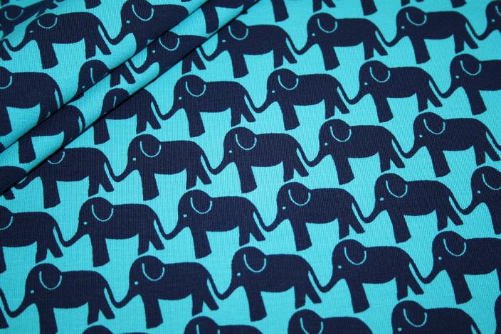 Swafings Jersey Stoff Strich Elefant Parade by Jolijou türkis blau