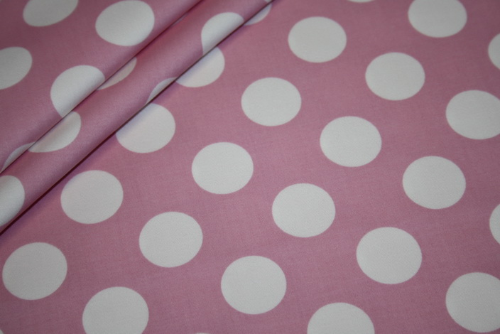 Hilco Big 60`s Dots Baumwollstoff bonbon rosa Punkte weiß