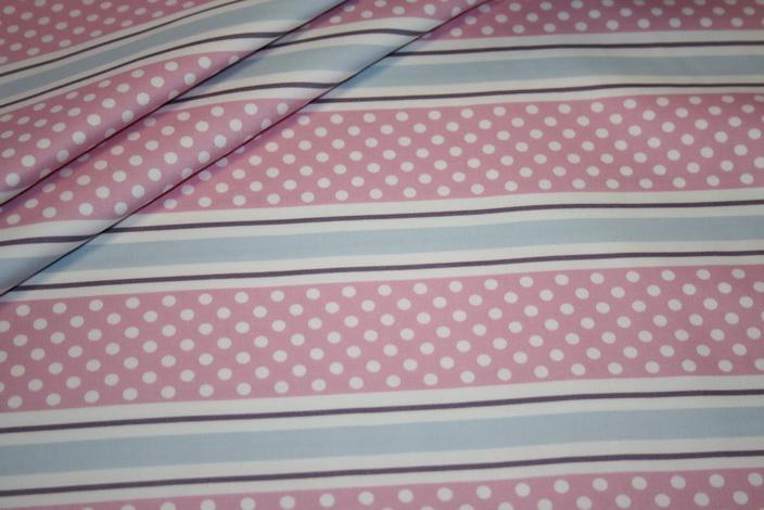 Hilco Big 60`s Dots Baumwollstoff bonbon rosa Streifen und Punkte
