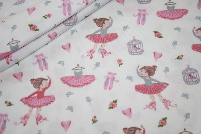 Jersey Stoff weiß rosa Ballerina