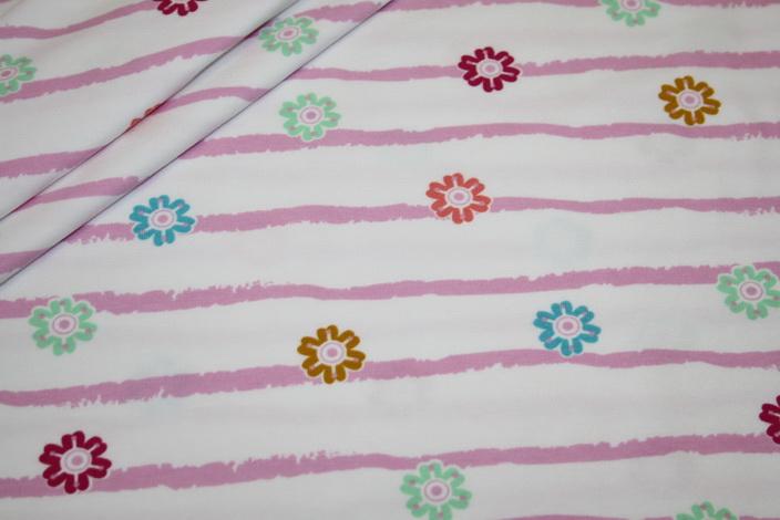 Jersey Stoff weiß rosa Streifen und Blümchen