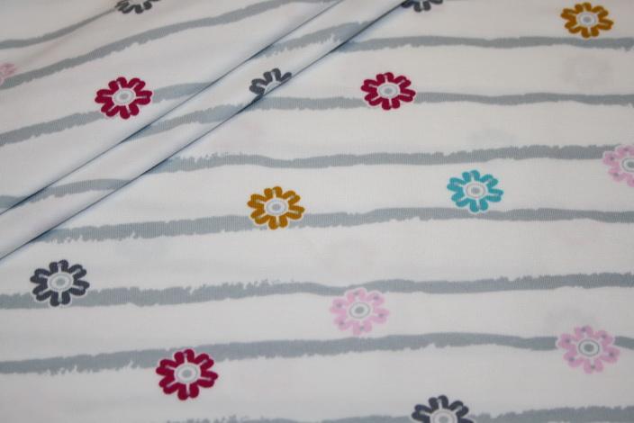 Jersey Stoff weiß grau Streifen und Blümchen