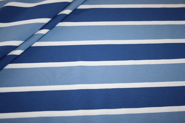 Swafings Jersey Stoff Lou Breite Streifen blau / weiß