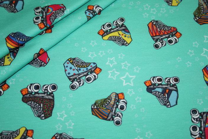 Sweatshirt Stoff by Lila Lotta Retro Skates mint