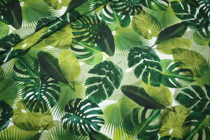 Digitaldruck Jersey Stoff Totenkopf Monstera Blätter