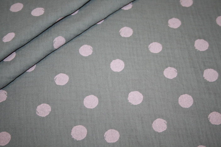 Musseline Baumwollstoff große Punkte grau rosa