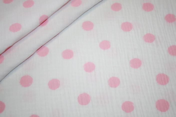 Musseline Baumwollstoff große Punkte weiß rosa