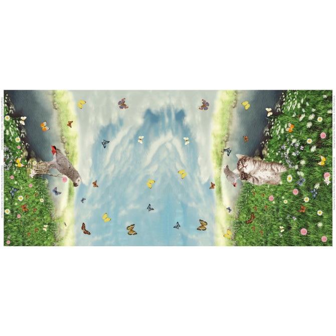 Stenzo Jersey Stoff Digitaldruck Katze Vogel kleines Panel