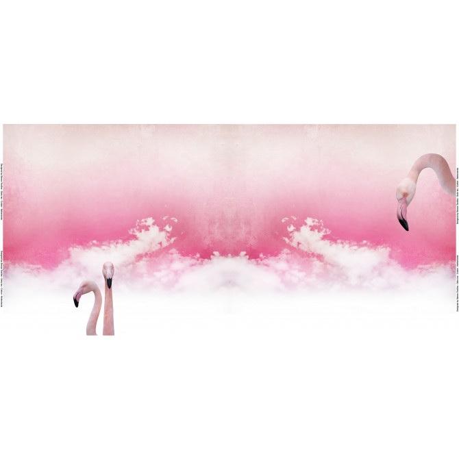 Stenzo Jersey Stoff Digitaldruck Flamingo pink kleines Panel