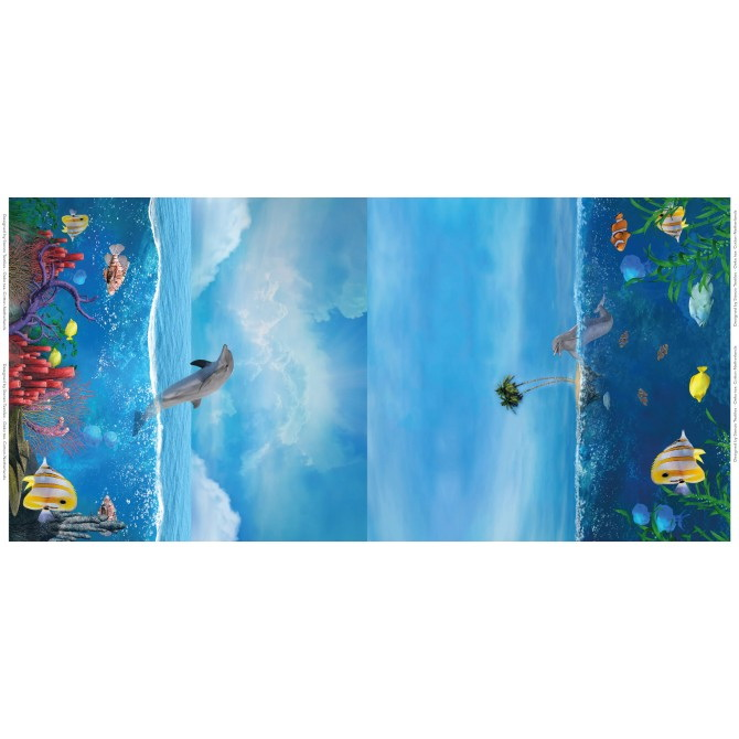 Stenzo Jersey Stoff Digitaldruck Delfin  kleines Panel
