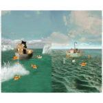 Stenzo Jersey Stoff Digitaldruck Katzen Titanic großes Panel