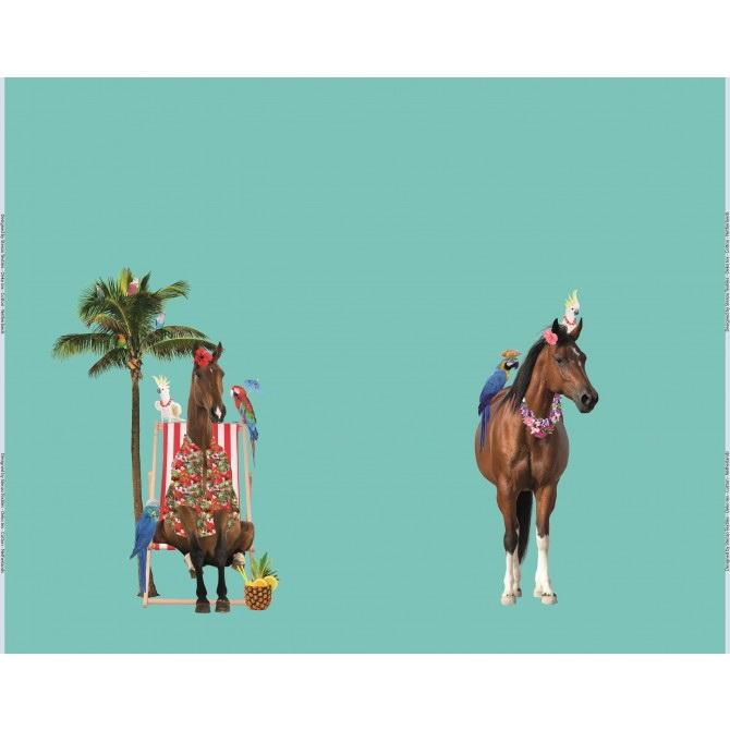 Stenzo Jersey Stoff Digitaldruck Pferd im Liegestuhl großes Panel