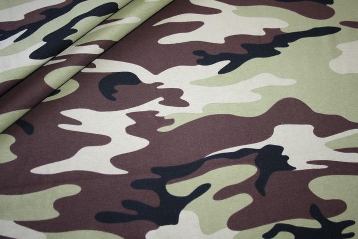 Swafings Jersey Stoff Camouflage grün braun