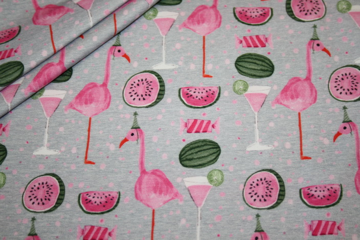 Jersey Stoff Flamingo Party grau pink