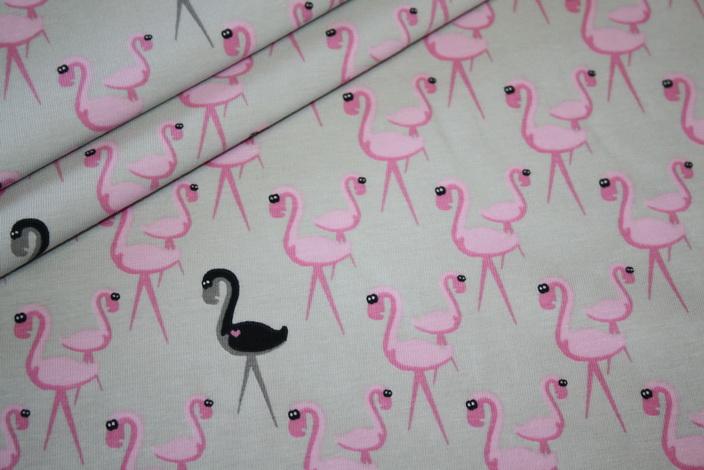 Jersey Stoff Flamingo rosa