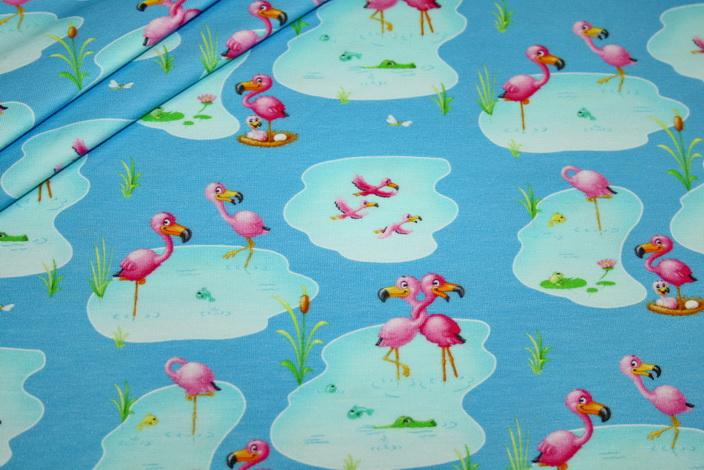 Jersey Stoff Flamingo blau türkis